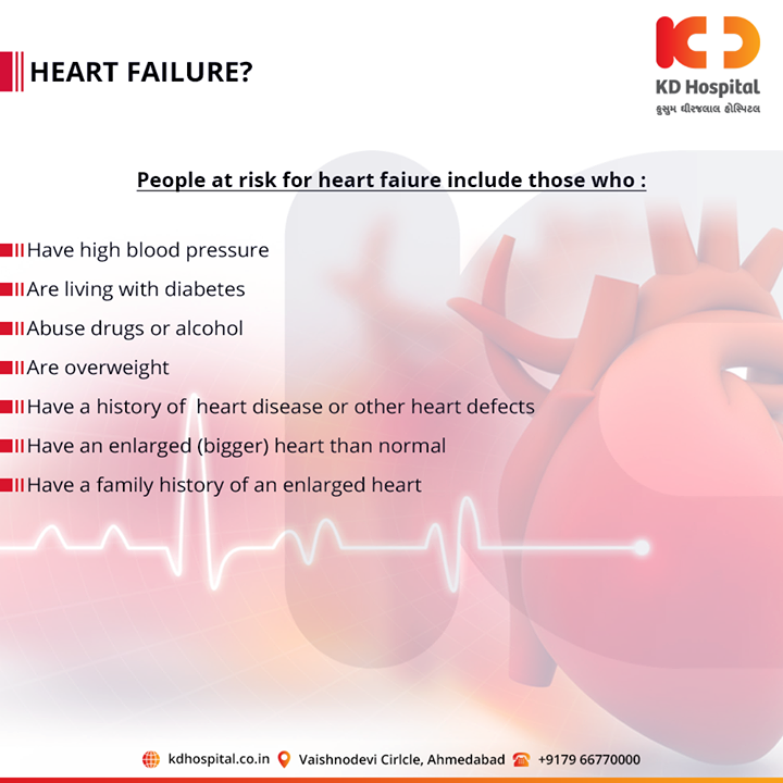 Risk factors of heart failure.  For appointment call: +91 79 6677 0000  #KDHospital #goodhealth #health #wellness #fitness #healthy #healthiswealth #wealth #healthyliving #joy #patientscare #Ahmedabad #Gujarat #India