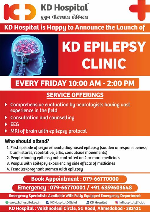 We are happy to announce the launch of KD Epilepsy Clinic, Every Friday 10:00 AM - 2:00 PM  For appointment call: +91 79 6677 0000  #KDHospital #goodhealth #health #wellness #fitness #healthy #healthiswealth #wealth #healthyliving #joy #patientscare #Ahmedabad #Gujarat #India