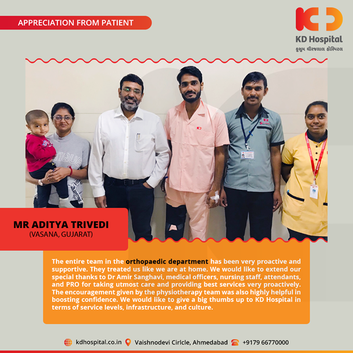 It feels great to hear such kind and touching appreciation from our patients!  For appointment call: +91 79 6677 0000  #KDHospital #goodhealth #health #wellness #fitness #healthy #healthiswealth #wealth #healthyliving #joy #patientscare #Ahmedabad #Gujarat #India #Appreciation