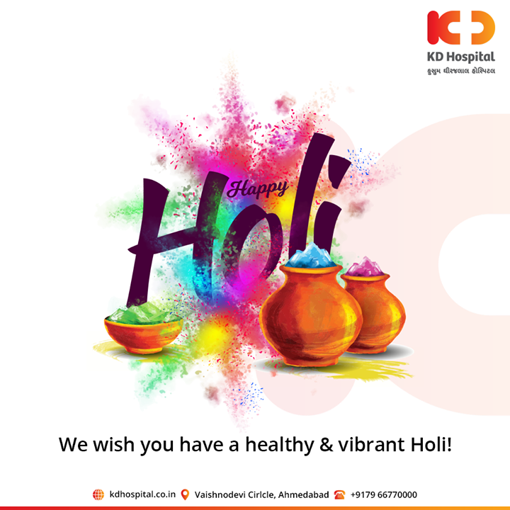 We wish you have a healthy & vibrant festival of Holi!  #HappyHoli2020 #Holi2020 #HappyHoli #होली #Holi #IndianFestival #RangBarse #Colours #FestivalOfColours #KDHospital #goodhealth #health #wellness #fitness #healthy #healthiswealth #wealth #healthyliving #joy #patientscare #Ahmedabad #Gujarat #India