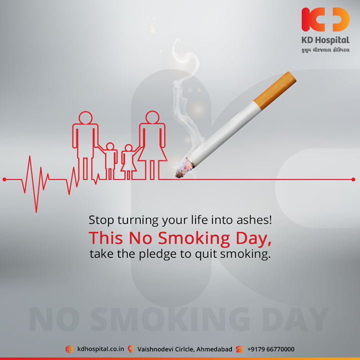 Stop turning your life into ashes! This No Smoking Day, take the pledge to quit smoking.  #NoSmokingDay #KDHospital #goodhealth #health #wellness #fitness #healthy #healthiswealth #wealth #healthyliving #joy #patientscare #Ahmedabad #Gujarat #India