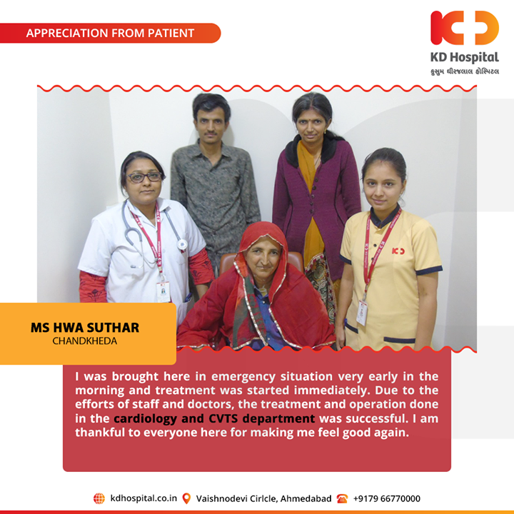 It feels great to hear such kind and touching appreciation from our patients!  For appointment call: +91 79 6677 0000  #KDHospital #GoodHealth #Ahmedabad #Gujarat #India #Appreciation
