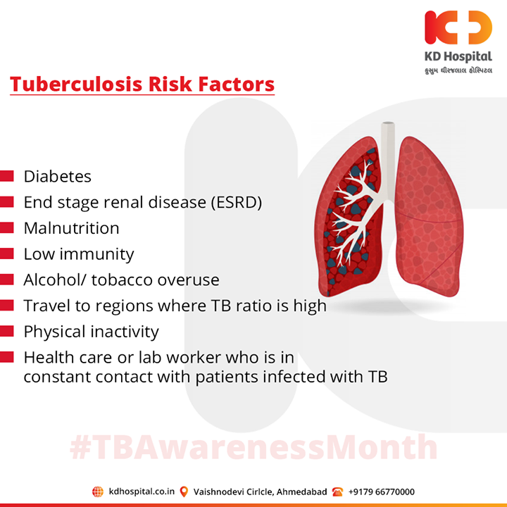 Anyone can get tuberculosis, but certain factors can increase the risk to get the disease.  For appointment call: +91 79 6677 0000  #Tuberculosis #TBAwarenessMonth #KDHospital #goodhealth #health #wellness #fitness #healthiswealth #healthyliving #patientscare #Ahmedabad #Gujarat #India