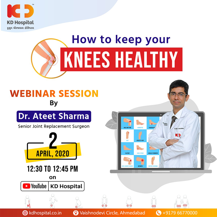 "KD Hospital presents a series of live webinars with its first session by Dr Ateet Sharma, MS Orthopaedics and Senior Joint Replacement Surgeon at KD Hospital. With his experience of over 2 decades, he will share tips on ""How to keep Your Knees healthy"". You can login to your YouTube account and ask your queries live on the following link:  https://www.youtube.com/channel/UC8DJ8MFUgP3hL0jHMqxm2-Q  #CoronaVirus #CoronaAlert #StayAware #StaySafe #pandemic #caronavirusoutbreak #Quarantined #QuarantineAndChill #coronapocalypse #KDHospital #goodhealth #health #wellness #fitness #healthiswealth #healthyliving #patientscare #Ahmedabad #Gujarat #India"