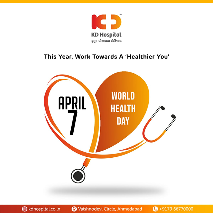 This Year, Work towards a 'Healthier You'  #WorldHealthDay #CoronaVirus #CoronaAlert #StayAware #StaySafe #pandemic #caronavirusoutbreak #Quarantined #QuarantineAndChill #coronapocalypse #KDHospital #goodhealth #health #wellness #fitness #healthiswealth #healthyliving #patientscare #Ahmedabad #Gujarat #India