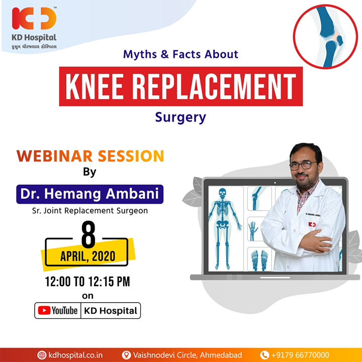 With nearly 25 years of clinical experience after MS in Orthopaedics, Dr Hemang Ambani, Senior Joint Replacement Surgeon at KD Hospital, is here to debunk all myths related to Knee replacement in the live webinar titled
