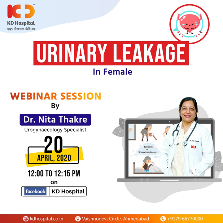 "Dr Nita Thakre, Urogynaecology specialist at KD Hospital, will be talking about ""Urinary leakage in Females"" in FB live webinar session on 20th April, 2020 at 12:00 noon.  #CoronaVirus #CoronaAlert #StayAware #StaySafe #pandemic #caronavirusoutbreak #Quarantined #QuarantineAndChill #coronapocalypse #KDHospital #goodhealth #health #wellness #fitness #healthiswealth #healthyliving #patientscare #Ahmedabad #Gujarat #India"