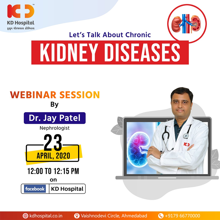 "You can ask your queries and understand more about chronic kidney diseases from Dr Jay Patel, Nephrologist at KD Hospital, by logging into your Facebook account and attending the live FB webinar titled ""Let's Talk About Chronic Kidney Diseases""   on 23rd April, 2020 at 12:00 noon.   #CoronaVirus #CoronaAlert #StayAware #StaySafe #pandemic #caronavirusoutbreak #Quarantined #QuarantineAndChill #coronapocalypse #KDHospital #goodhealth #health #wellness #fitness #healthiswealth #healthyliving #patientscare #Ahmedabad #Gujarat #India"