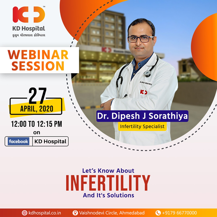 "Login to your Facebook account to ask your queries and understand more about infertility and its solutions from Dr Dipesh J Sorathiya, Infertility Specialist at KD Hospital, in the live FB webinar titled ""Let's Know About Infertility and Its Solutions"" on 27th April, 2020 at 12:00 noon  #CoronaVirus #CoronaAlert #StayAware #StaySafe #pandemic #caronavirusoutbreak #Quarantined #QuarantineAndChill #coronapocalypse #KDHospital #goodhealth #health #wellness #fitness #healthiswealth #healthyliving #patientscare #Ahmedabad #Gujarat #India"