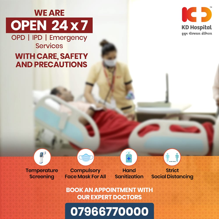 We are open 24x7 with Care, Safety and Precautions.  #CoronaVirus #CoronaAlert #StayAware #StaySafe #pandemic #caronavirusoutbreak #coronapocalypse #KDHospital #goodhealth #health #wellness #fitness #healthiswealth #healthyliving #patientscare #Ahmedabad #Gujarat #India