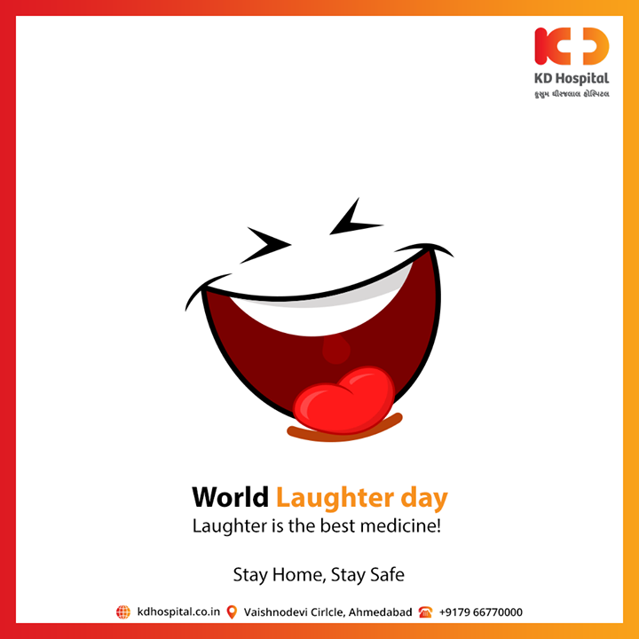 Laughter is the best medicine!   #LaughterDay #CoronaVirus #CoronaAlert #StayAware #StaySafe #pandemic #caronavirusoutbreak #Quarantined #QuarantineAndChill #coronapocalypse #KDHospital #goodhealth #health #wellness #fitness #healthiswealth #healthyliving #patientscare #Ahmedabad #Gujarat #India