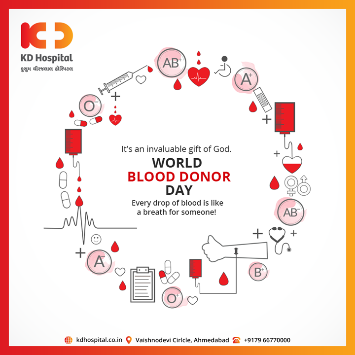 Every drop of blood is like a breath for someone!  #WorldBloodDonorDay #DonateBlood #BloodDonorDay #KDHospital #goodhealth #health #wellness #fitness #healthiswealth #healthyliving #patientscare #Ahmedabad #Gujarat #India