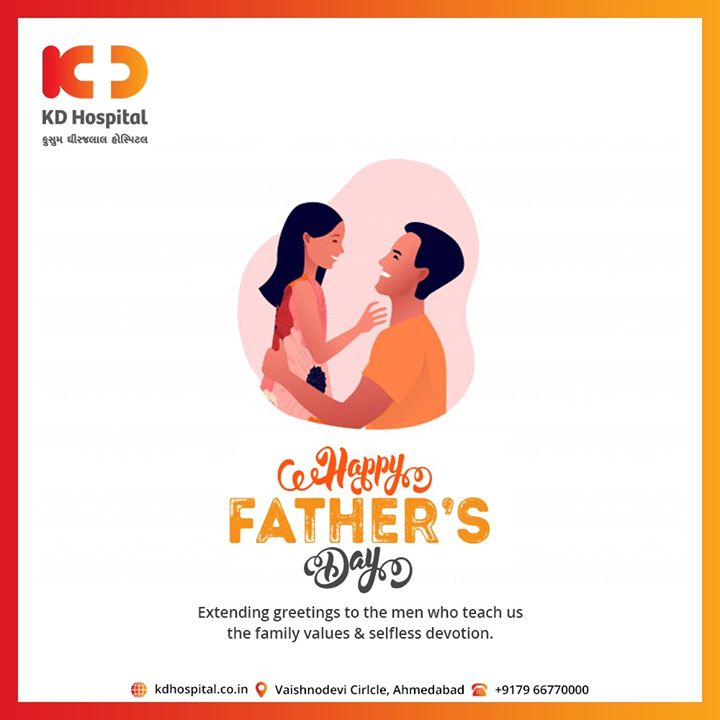 Extending greetings to the men who teach us the family values & selfless devotion.  #HappyFathersDay #FathersDay #FathersDay2020 #DAD #Father #KDHospital #goodhealth #health #wellness #fitness #healthiswealth #healthyliving #patientscare #Ahmedabad #Gujarat #india