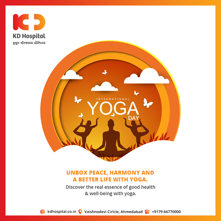 Unbox Peace, Harmony and A better life with Yoga  #Yoga #YogaDay #InternationalYogaDay #KDHospital #goodhealth #health #wellness #fitness #healthiswealth #healthyliving #patientscare #Ahmedabad #Gujarat #india