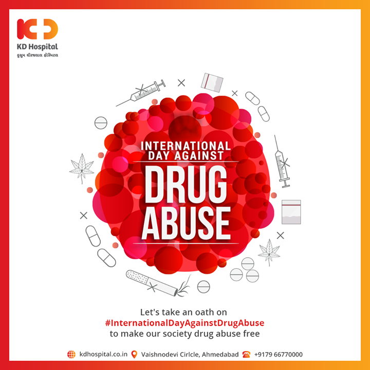 Let's take an oath on #InternationalDayAgainstDrugAbuse to make our society drug abuse  free  #KDHospital #goodhealth #health #wellness #fitness #healthiswealth #healthyliving #patientscare #Ahmedabad #Gujarat #india