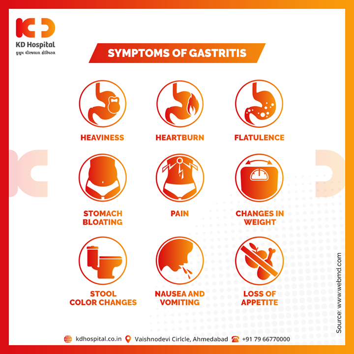 Gastritis can occur suddenly or gradually. If you experience any of these symptoms, consult our expert Gastroenterologist.                               You can call us on 07966770000 and book your appointment.  #KDHospital #goodhealth #health #wellness #fitness #healthiswealth #healthyliving #patientscare #Ahmedabad #Gujarat #india