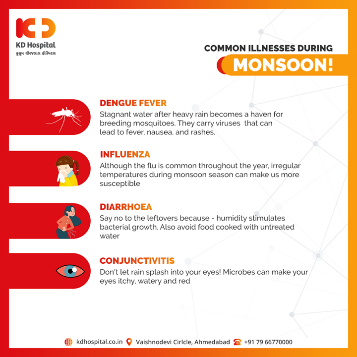 Common illnesses during monsoon!   #KDHospital #goodhealth #health #wellness #fitness #healthy #healthiswealth #wealth #healthyliving #joy #patientscare #Ahmedabad #Gujarat #India