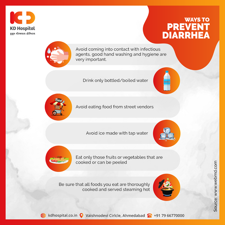 Here are 6 ways to prevent Diarrhea. Precaution is always better than cure.   #KDHospital #goodhealth #health #wellness #fitness #healthiswealth #healthyliving #patientscare #Ahmedabad #Gujarat #India
