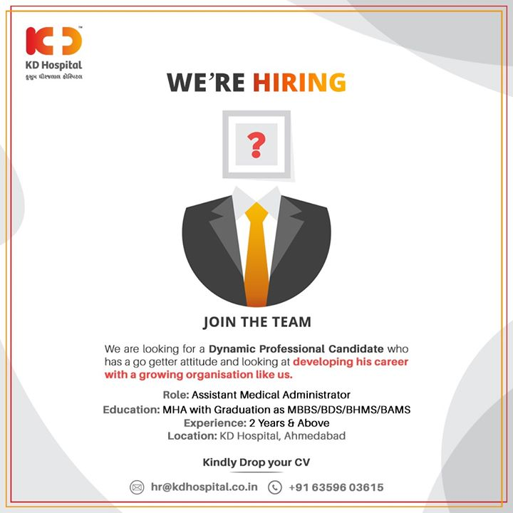 We're Hiring  We are looking for a Dynamic Professional Candidate who has a go getter attitude and looking at developing his career with a growing organisation like us.  #Hiring #JoinUs #DynamicProfessionalCandidate #KDHospital #goodhealth #health #wellness #fitness #healthiswealth #healthyliving #patientscare #Ahmedabad #Gujarat #India