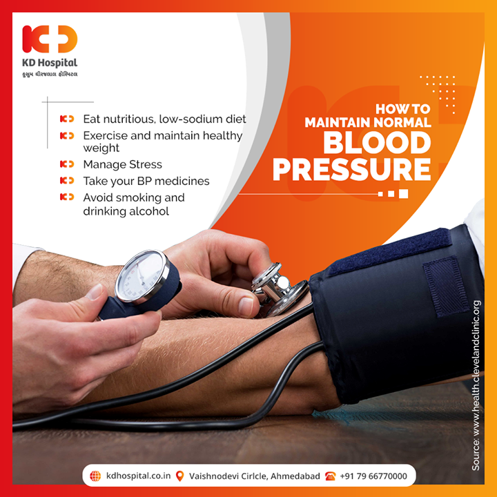 Blood Pressure often rises with age. High Blood pressure (Hypertension) is silent but raises risks of Heart Diseases, stroke, and other problems. The following are some ways to lower your blood pressure.  #KDHospital #goodhealth #health #wellness #fitness #healthiswealth #healthyliving #patientscare #Ahmedabad #Gujarat #India