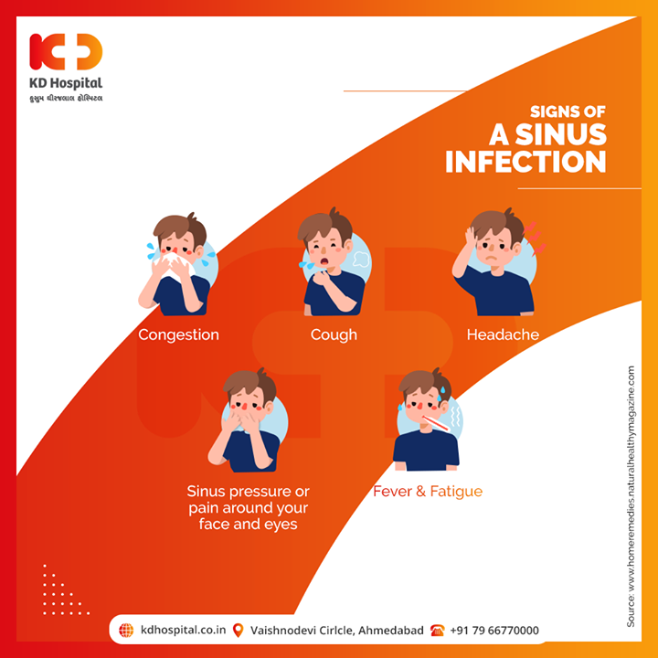 A sinus infection or sinusitis occurs when your nasal cavities become swollen and inflamed. It may be acute or chronic.  Please consult a doctor and don't let the symptoms prevail.   #KDHospital #goodhealth #health #wellness #fitness #healthiswealth #healthyliving #patientscare #Ahmedabad #Gujarat #India