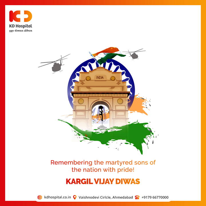 Remembering the martyred sons of the nation with pride!  #KargilVijayDiwas #KargilVijayDiwas2020 #JaiHind #IndianArmy #RememberingKargil #KDHospital #goodhealth #health #wellness #fitness #healthiswealth #healthyliving #patientscare #Ahmedabad #Gujarat #india