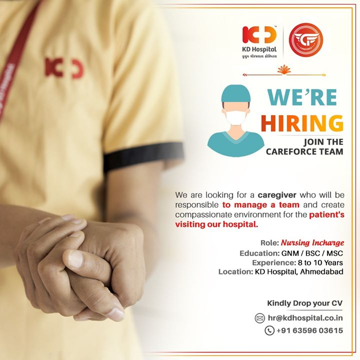 We are hiring.  We are looking for a caregiver who will be responsible to manage a team and create compassionate environment for the patient's visiting our hospital.  #HiringNursingIncharge #Hiring #NursingIncharge #Nurse #KDHospital #goodhealth #health #wellness #fitness #healthiswealth #healthyliving #patientscare #Ahmedabad #Gujarat #india