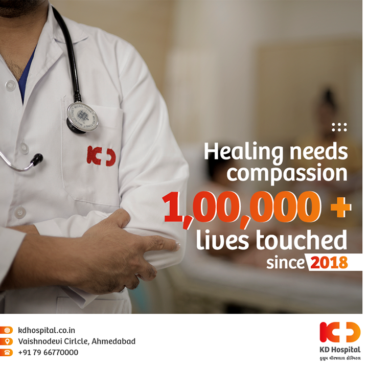 Healing needs Compassion and we are a team of Compassionate Doctors and Healthcare workers, willing to make this world a better place with Best in class Treatments and Utmost Care. We believe in the 'well being' of humanity which is achieved by Professional and Ethical comprehensive Healthcare. Since 2018, KD Hospital has touched the lives of more than 1,00,000 patients and it will always strive to maintain its mark of treating patients with compassion.  #BestinClassTreatments #100000patients #UtmostCare #TreatingPatients #Compassion #EthicalComprehensiveHealthcare #ComprehensiveHealthcare #CompassionateDoctors #doctorconsultation  #DoctorsOnline #KDHospital #GoodHealth #Health #HealthandWellness  #Wellness #Fitness #HealthisWealth #HealthyLiving #Patientscare #Ahmedabad #Gujarat #India