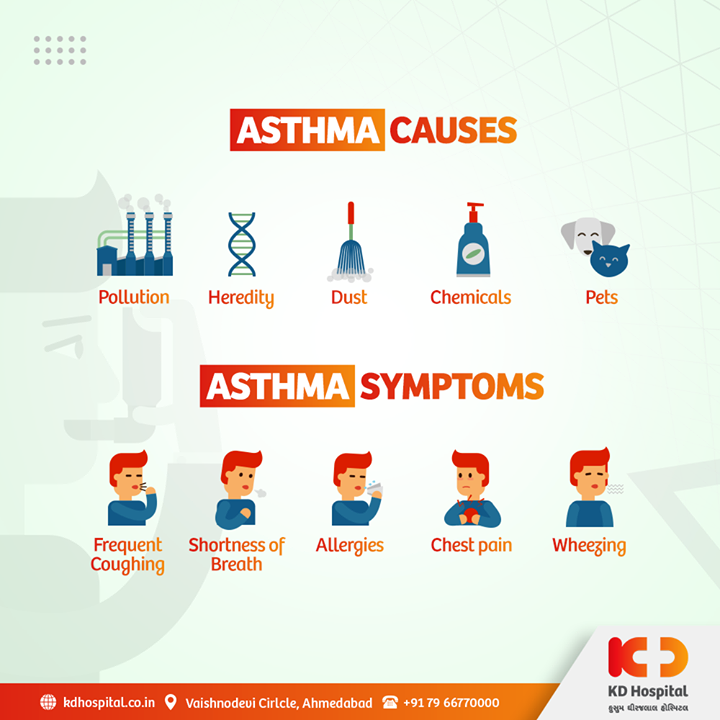 Asthma is the most common chronic respiratory condition which inflames and narrows the airways and makes breathing difficult. These are some Causes and Symptoms related to Asthma.  #KDHospital #Asthma #chronicrespiratory #goodhealth #health #wellness #fitness #healthiswealth #healthyliving #patientscare #Ahmedabad #Gujarat #India