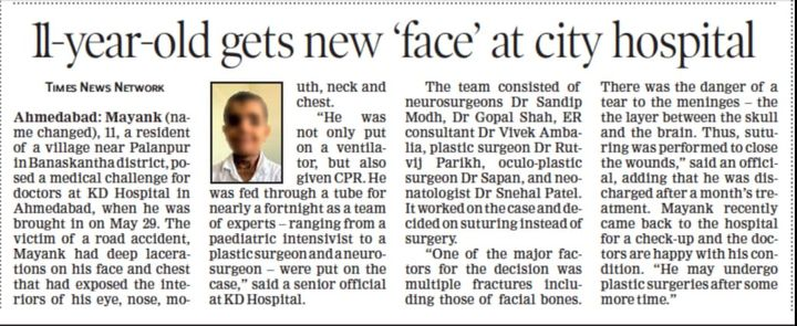 With the collaborative efforts of our multidisciplinary team of doctors at KD Hospital, this 11-year-old child received a new life with facial reconstruction after being involved in an accident resulting in deep lacerations involving his eyes, nose, mouth, neck and chest.  We, at KD Hospital, take care not only of your health but your well-being as well and each one of our members is committed towards it.  #KDHospital #InTheNews #facialreconstruction #goodhealth #health #wellness #fitness #healthiswealth #healthyliving #patientscare #Ahmedabad #Gujarat #india