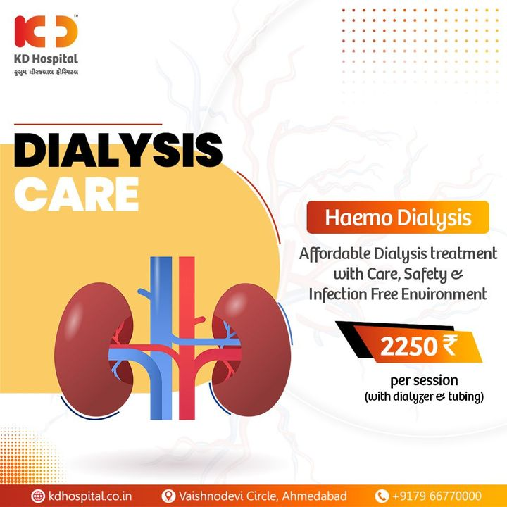 When kidneys fail to maintain the internal balance of body fluids, minerals and salt, rendering the waste to gather in the blood; dialysis becomes a viable treatment option to keep your blood devoid of impurities. KD Hospital offers budget-friendly options for Haemo-Dialysis in the infection-free environment. Book the appointment for a session now.   #KDHospital #goodhealth #healthiswealth #healthyliving #patientscare #dialysis #kidneydisease #kidneytransplant #kidney #kidneyfailure #kidneyhealth #haemodialysis #knees #StayAware #StaySafe #pandemic #Ahmedabad #Gujarat #India