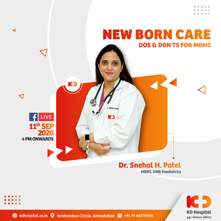 Mothers are always troubled about their newborns when they arrive. They are quite unsure of what is good for their newborn and what is not. Dr Snehal Patel has answers to all your questions. Join Dr Snehal for the discussion at 4 PM onwards, September 11, 2020 on Facebook live.  #KDHospital #goodhealth #health #wellness #fitness #healthy #FacebookLive #motherhood #mother #parenthood #paediatrics #newborns #babycare #babycaretips #healthiswealth #wealth #healthyliving #joy #patientscare #Ahmedabad #Gujarat #India
