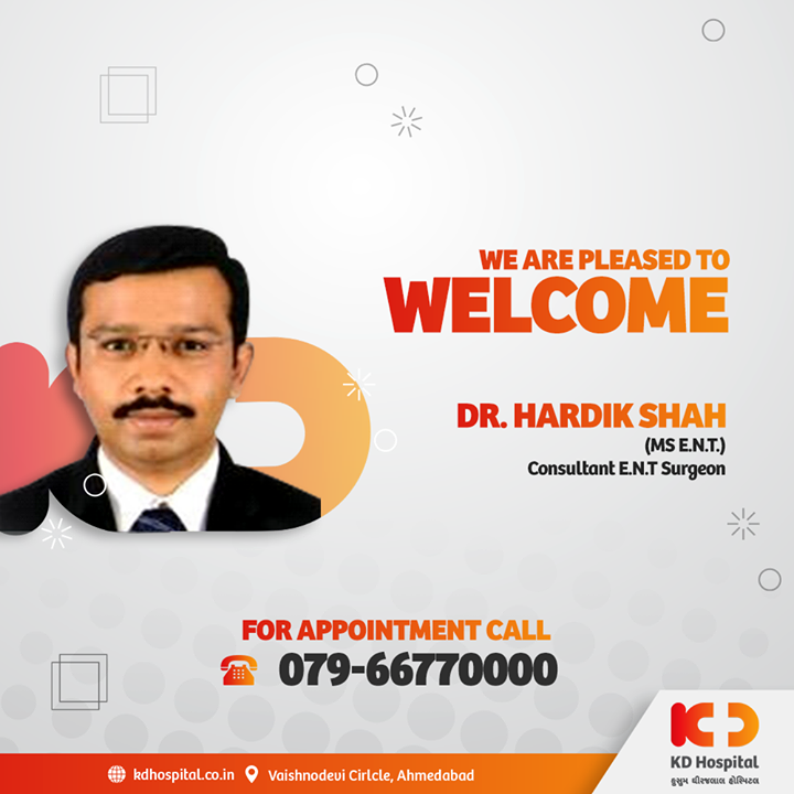 KD Hospital is pleased to announce the joining of Dr. Hardik Shah, ENT Specialist, who has experience over 7 years in the field and will be available for consultation at the hospital. Call 079-66770000 to book an appointment.   #KDHospital #goodhealth #health #wellness #doctor #entsurgeon #fitness #healthiswealth #healthyliving #patientscare #Ahmedabad #Gujarat #india