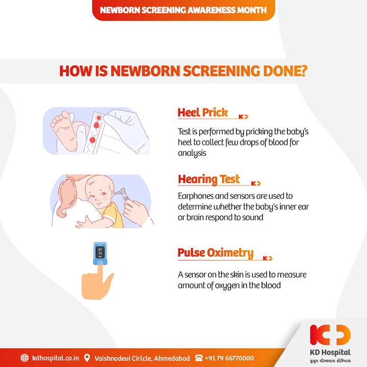 September Is Newborn Screening Awareness Month. Newborn screening is the practice of testing all babies in their first days of life for certain disorders and conditions that can hinder their normal development. With a simple blood test, doctors can check for rare genetic, hormone-related, and metabolic conditions that can cause serious health problems.   #NewBornScreeningMonth #NewBornScreening #NewBorn #KDHospital #HospitalAhmedabad #GoodHealth #Health #Wellness #Fitness #HealthisWealth #HealthyLiving #PatientsCare #WeCare #Ahmedabad #Gujarat #India