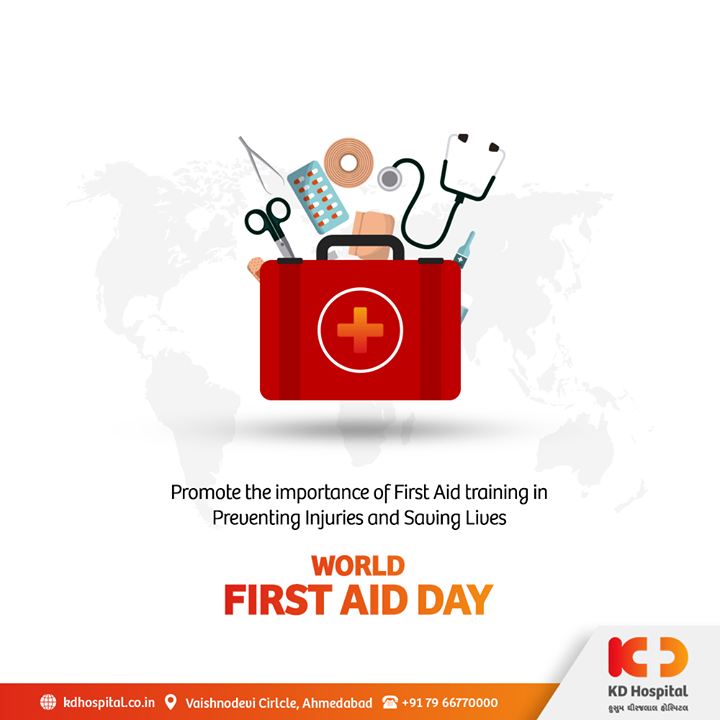 On this World First Aid Day, we want to remind you that First Aid is available to all and you can save a life of one in need. First Aid Education is accessible to all and it is a fundamental motion to solidarity. Spread awareness, stay alert, and save lives.   #KDHospital #WorldFirstAidDay #FirstAidAwareness #FirstAid #savelife #savelives #goodhealth #health #wellness #doctor  #fitness #healthiswealth #healthyliving #patientscare #Ahmedabad #Gujarat #india