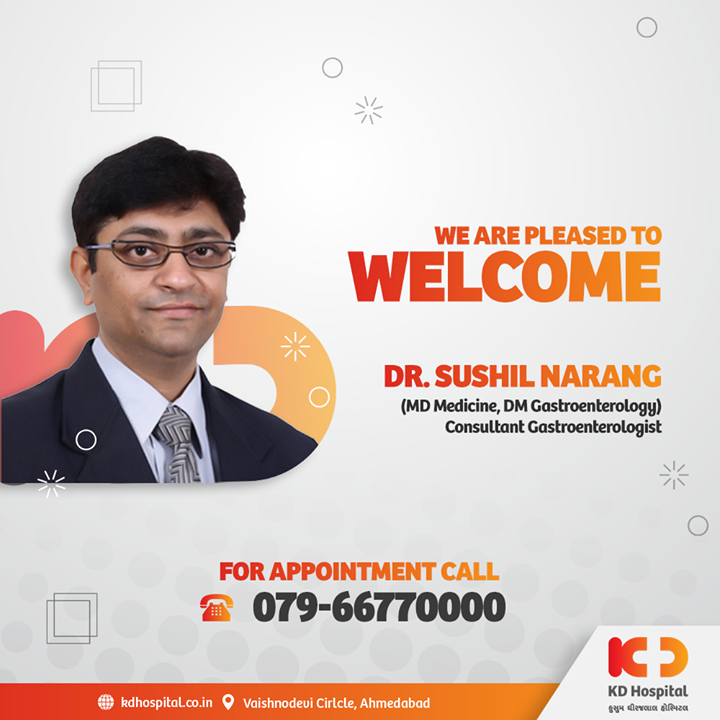 Dr. Sushil Narang has joined KD Hospital as a Consultant Gastroenterologist with the experience of over 16 years in Consultation, General Gastroenterology and Advanced Endoscopy. Call 079-66770000 to book an appointment.  #KDHospital #goodhealth #health #wellness #doctor #gastroenterologist #endoscopy #gastroenterology #gerd #colonoscopy #fitness #healthiswealth #healthyliving #patientscare #Ahmedabad #Gujarat #india