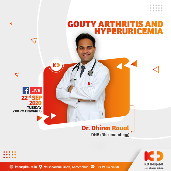 Elevated uric acid levels could cause multiple diseases in your body, including a painful variant of arthritis, gout and hyperuricemia. Dr Dhiren Raval speaks about both the conditions and correlation between the two on Facebook Live tomorrow (September 22, 2020) at 2:00 PM.   #KDHospital #goodhealth #healthiswealth #healthyliving #patientscare #gout #goutyarthritis #painful #arthritis #rheumatology #uricacid #facebooklive #StayAware #StaySafe #Doctors #DoctorsOfInstagram #Diagnosis #Therapeutics #goodhealth #social #socialmediamarketing #digitalmarketing #pandemic #Ahmedabad #Gujarat #India