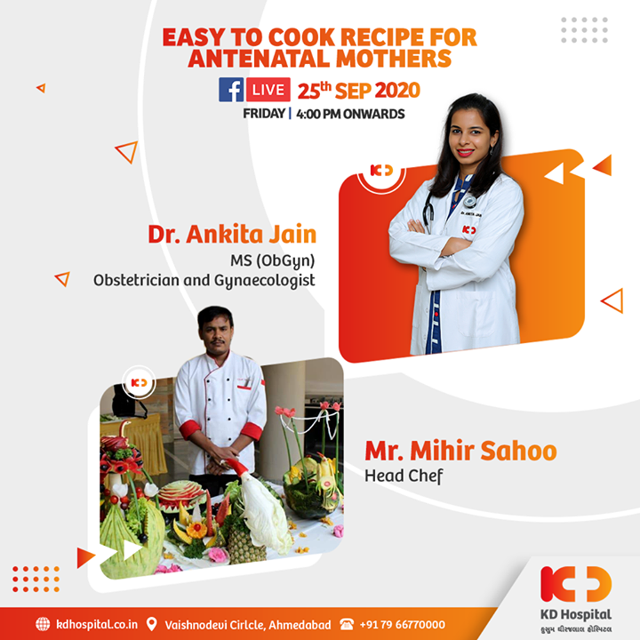 Nutrition is as important as at no other time before, during and after pregnancy. Having a healthy diet by diverse food recipes is vital to a healthy pregnancy. Dr Ankita Jain talks about nutrition for antenatal mothers while our head chef makes some easy recipe for them on our Facebook Live session at 4 PM, September 25, 2020.   #KDHospital #goodhealth #health #wellness #doctor #pregnancy #antenatalcare #antenataldiet #diet #nutrition #healthylife #FacebookLive #SocialMediaMarketing #fertility #gynaecology #obstetrics #fitness #healthiswealth #healthyliving #patientscare #Ahmedabad #Gujarat #india