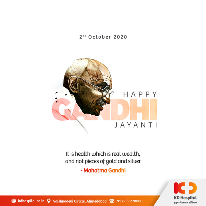 This Gandhi Jayanti, let's practice adoption of healthy habits from Mahatma Gandhiji, who inspired and changed millions of people with his simple living, mindful dietary habits, and bureaucratic intel.  #HappyGandhiJayanti #GandhiJayanti #SelfRestrain #Fasting #HealthyDiet #Gandhiji #MahatmaGandhi #KDHospital #goodhealth #health #wellness #fitness #healthiswealth #healthyliving #patientscare #Ahmedabad #Gujarat #india