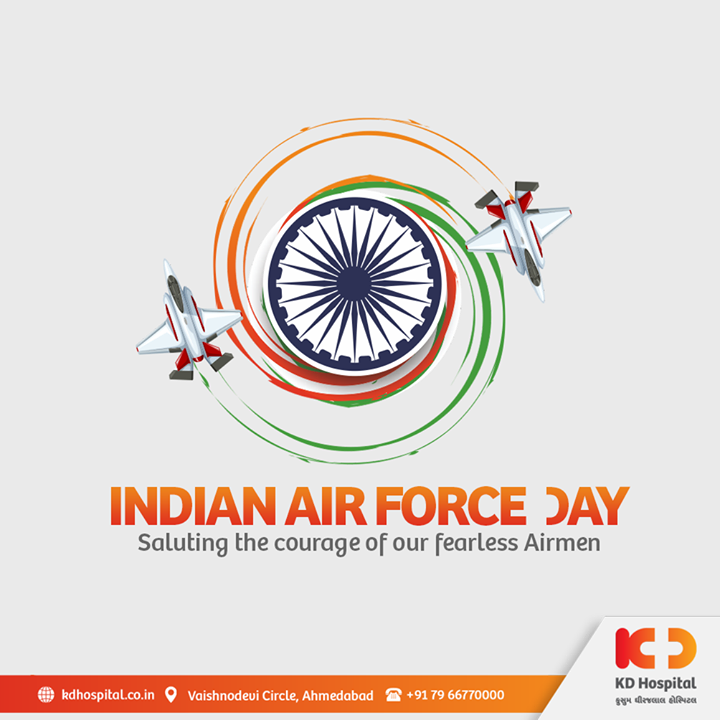We salute our air-force champions for securing the nation in troublesome occasions and devoting their lives to serve the residents of India on the 88th anniversary of Indian Air Force Day.  #KDHospital #MultiSpecialtyHospital #IndianAirForceDay #IndianAirForceDay2020 #servingournation #IndianAirForce #DoctorsOfInstagram #Diagnosis #Therapeutics #goodhealth #FacebookLive #pandemic #socialmedia #socialmediamarketing #pandemic #wellness #wellnessthatworks #Ahmedabad #Gujarat #India