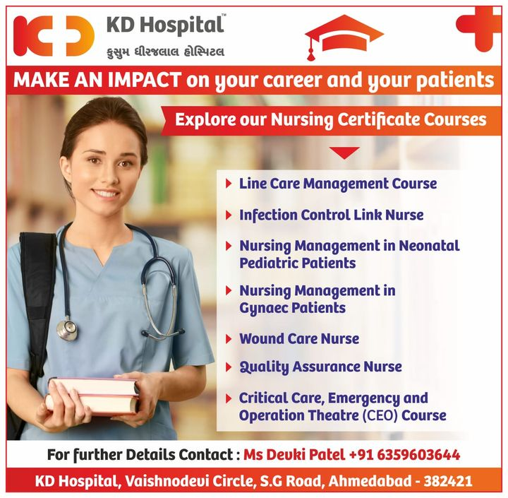 Our nursing certificate courses can assist you to reach your profession objectives. Take our training courses that educate about advanced infection control techniques, cutting edge patient hygiene procedures, health maintenance methodology, safety precautions, and how to reassure patient safety and comfort. Call to enrol now!  #KDHospital #Nursing #Nurse #NursingCourses #NurseEducation #Diagnosis #Therapeutics #goodhealth #pandemic #socialmediamarketing #pandemic #wellness #wellnessthatworks #Ahmedabad #Gujarat #India