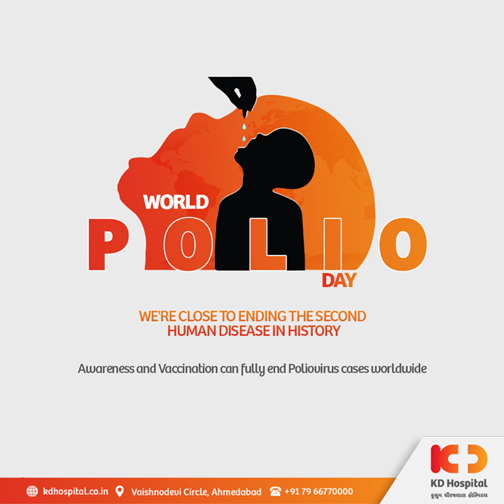 Two drops of the vaccination can save you from lifetime of misery. Let us join hands for World Polio Day as worldwide healthcare experts and accomplices share the achievements to the path of poliovirus eradication.   #KDHospital #WorldPolioDay #WorldPolioDay2020 #polio #poliovirus #polioeradication #DoctorsOfInstagram  #Diagnosis #Therapeutics #goodhealth #pandemic #socialmedia #socialmediamarketing #digitalmarketing #wellness #wellnessthatworks #Ahmedabad #Gujarat #India