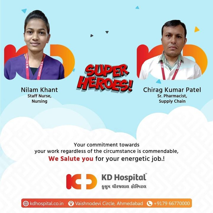 KD Hospital appreciates having dependable employees like you when the organization can rely on you in demanding stratum.   #KDHospital #EmployeeWellness #EmployeeAppreciation #DoctorsOfInstagram #Diagnosis #Therapeutics #goodhealth #pandemic #socialmedia #socialmediamarketing #digitalmarketing #wellness #wellnessthatworks #Ahmedabad #Gujarat #India