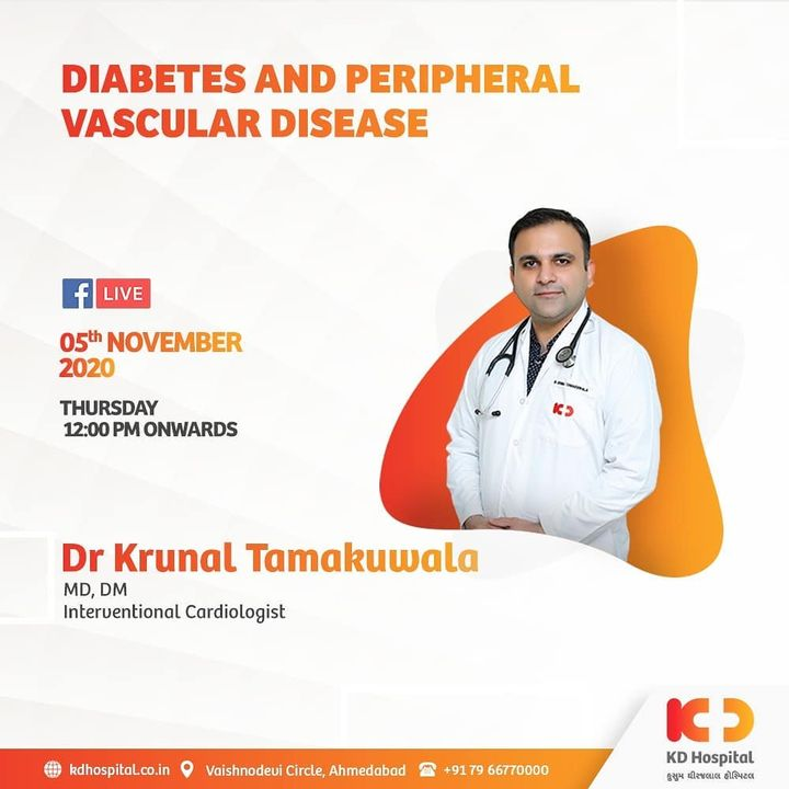 Diabetes may contribute to peripheral vascular diseases, which causes narrowing or blocking of the blood vessels outside the heart and brain. Dr Krunal Tamakuwala talks about