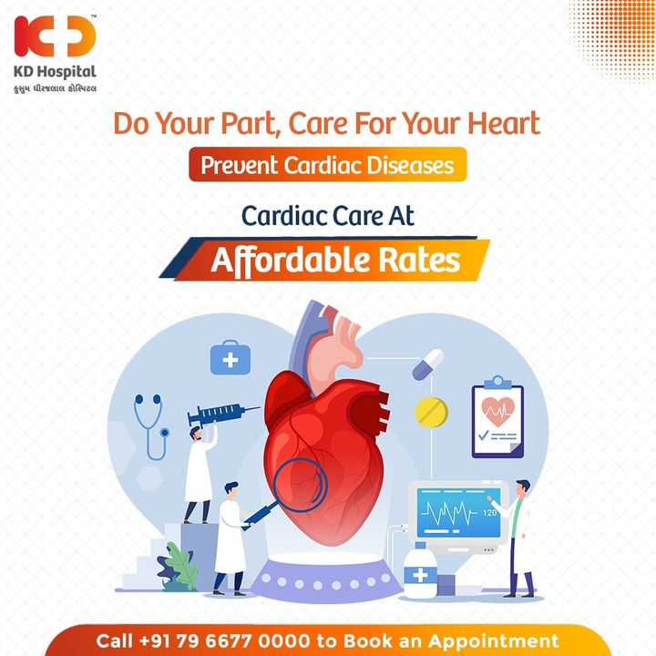 Don't ignore what your heart wants to say to you through showing cardiac symptoms. Taking care of your heart is as equivalent to taking care of your body. KD Hospital offers affordable cardiac care with the latest technology, avail yourself an appointment for a check-up on +91 7966770000.   #KDHospital #goodhealth #healthiswealth #healthyliving #patientscare #CardiacCare #Cardiology #HealthyHeart #cardiology #heartdiseases #cardiologist #HealthyHeartDiet #StayAware #StaySafe #Doctors #DoctorsOfInstagram #Diagnosis #Therapeutics #socialmediamarketing #digitalmarketing #pandemic #Ahmedabad #Gujarat #India