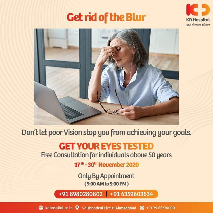Don't let blurry vision affect your career goals. KD Hospital is having a free eye consultation from 17/11/2020 to 30/11/2020 for the patients above the age of 50. Call +918980280802 or +916359603634 between 9:00 AM to 5:00 PM to book an appointment. Cashless Facilities are also available at the hospital.  #KDHospital #eyecheckup #cataract #blindness #blind #cataractsurgery #blindnessawareness  #DoctorsOfInstagram #Diagnosis #Therapeutics #goodhealth #pandemic #socialmedia #socialmediamarketing #digitalmarketing #wellness #wellnessthatworks #Ahmedabad #Gujarat #India