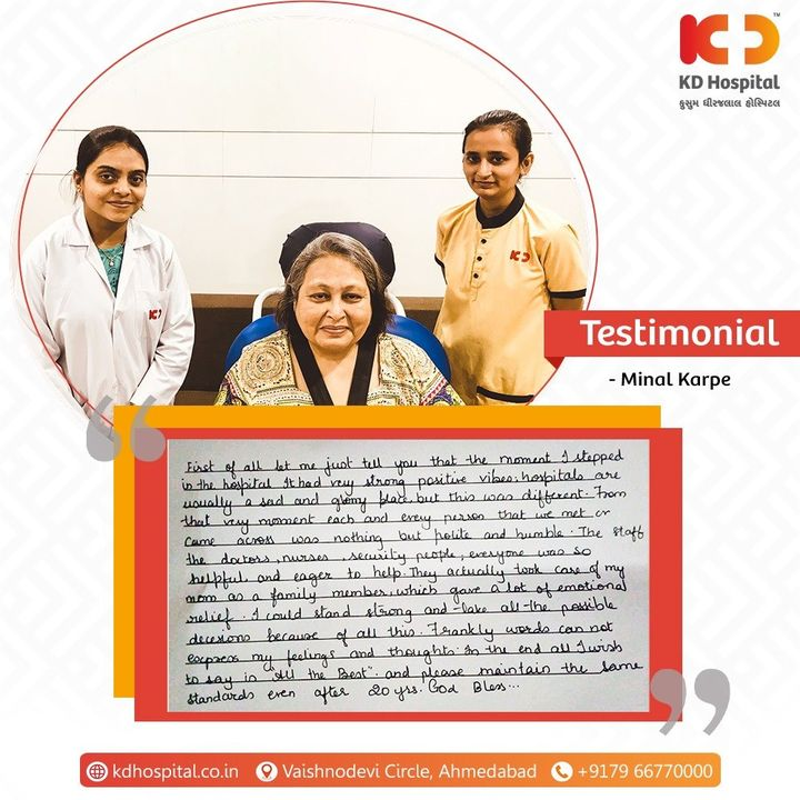 Thank you very much Ms. Hemali (Daughter of the patient Minal Karpe) for sharing your experience at KD Hospital with us. Your feedback makes us liable to continue to provide patient care with a lot of enthusiasm. #KDHospital #Compassion #Doctors #DoctorsOfInstagram #Diagnosis #Therapeutics #goodhealth #patienttestimonial #patient #testimonial #testimony #soical #socialmediamarketing #digitalmarketing #wellness #wellnessthatworks #Ahmedabad #Gujarat #India