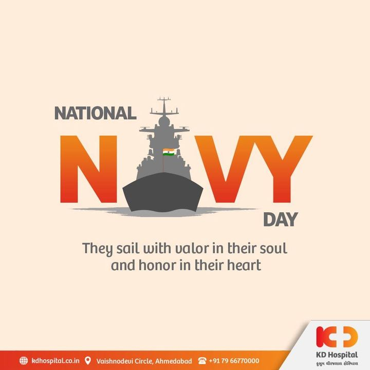 Tribute and salute to all the Naval personnel for standing tall in deep waters on this National Navy Day.   #KDHospital #NationalNavyDay #IndianNavyDay #DoctorsOfInstagram #Diagnosis #Therapeutics #goodhealth #pandemic #socialmedia #socialmediamarketing #digitalmarketing #wellness #wellnessthatworks #Ahmedabad #Gujarat #India