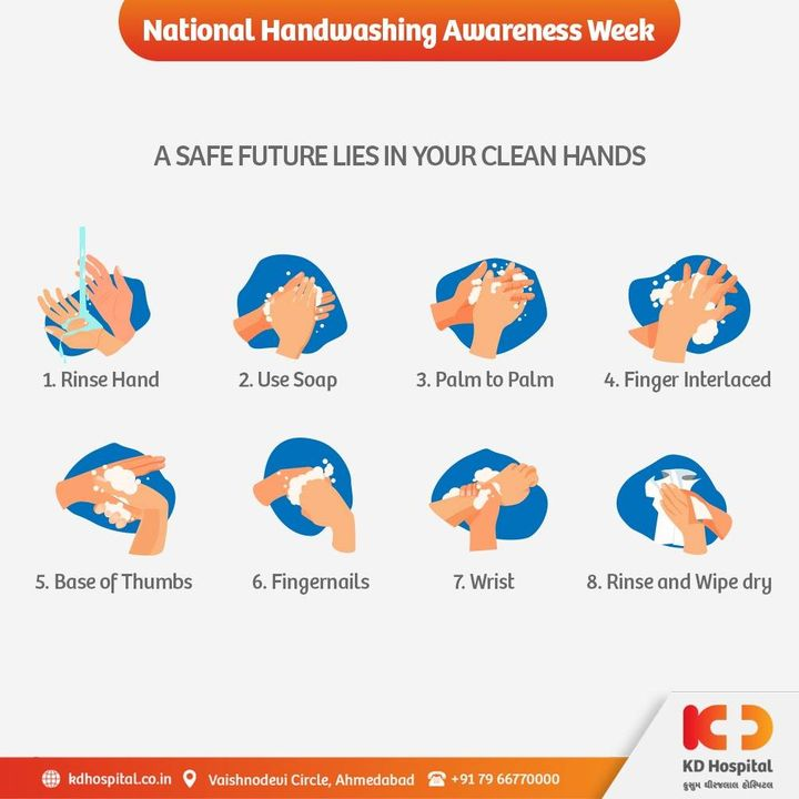 Nature is the best teacher and the same can be seen during these times. We all have learnt the importance of washing hands during the day. Follow the steps as demonstrated in the pictorial and continue to practice washing hands at a regular interval in a day.  #KDHospital #NationalHandwashingAwarenessWeek #HandWashing #HandHygiene #handwash #handwashonly #Compassion #Therapeutics #goodhealth #Covid19 #Covid #DoctorsOfInstagram #Diagnosis #Therapeutics #goodhealth #pandemic #socialmedia #socialmediamarketing #wellness #wellnessthatworks #Ahmedabad #Gujarat #India