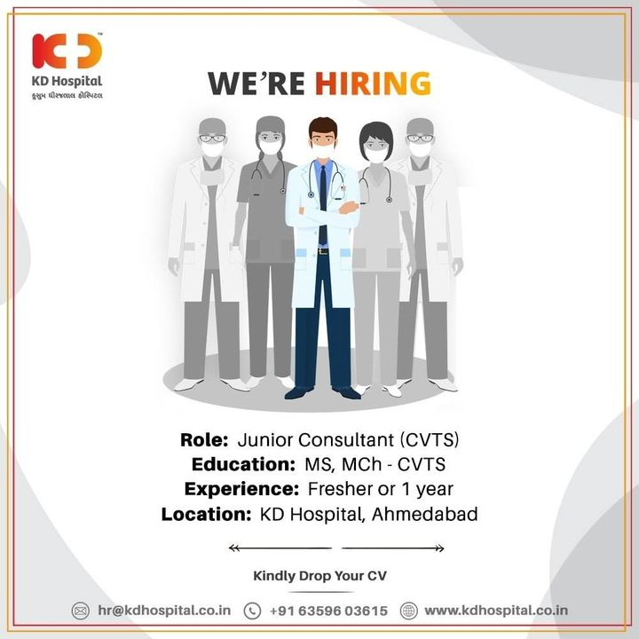 Position open for Jr. Consultant CVTS, who can participate in cardiac sciences consultation and procedures. Interested candidates can drop an updated CV.   #KDHospital #Hiring #WeAreHiring #cvts #cardiacsurgery #Cardiothorascicsurgery #HiringAlert #Connections #DoctorsOfInstagram #Therapeutics #goodhealth #pandemic #socialmedia #socialmediamarketing #digitalmarketing #wellness #wellnessthatworks #Ahmedabad #Gujarat #India